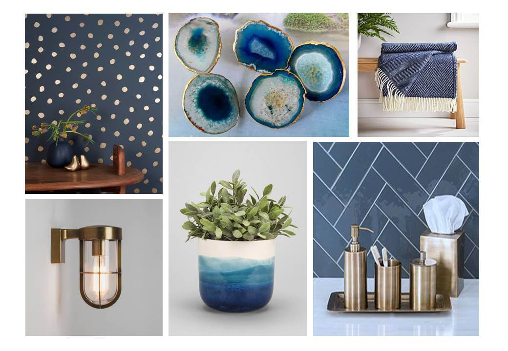 Trends showing Dark Navy and Metallic Mood board