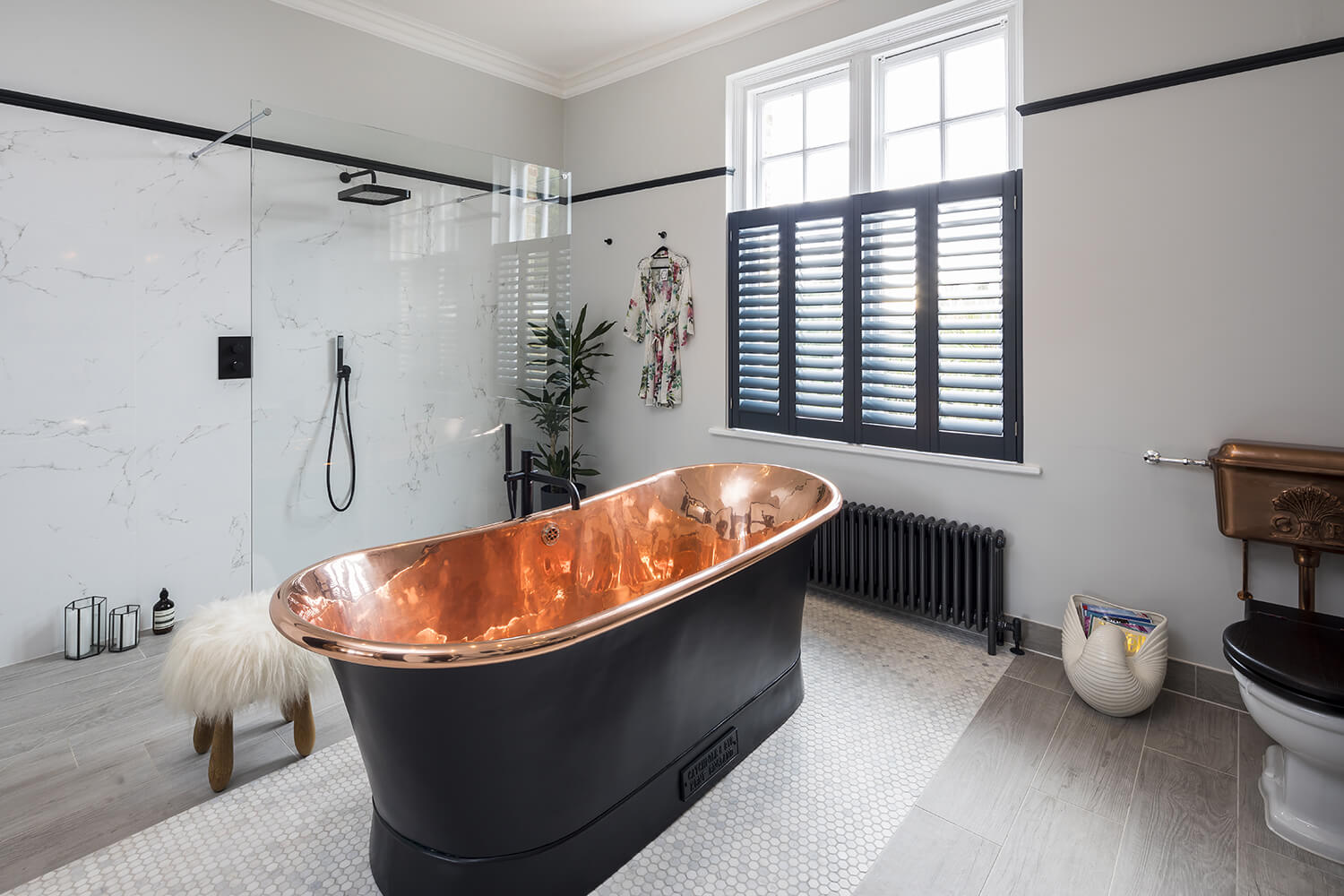 Bathroom Eleven - Copper and black freestanding bath in Surbiton