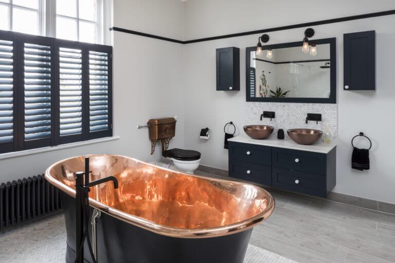 Bathroom Eleven - Copper and Black ensuite Bathroom in Surbiton