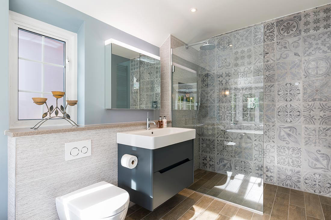 Luxury bathroom renovation with wetroom in Cobham