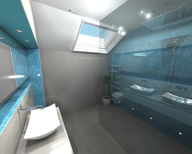 3D render of bathroom in Surbiton designed by Bathroom Eleven
