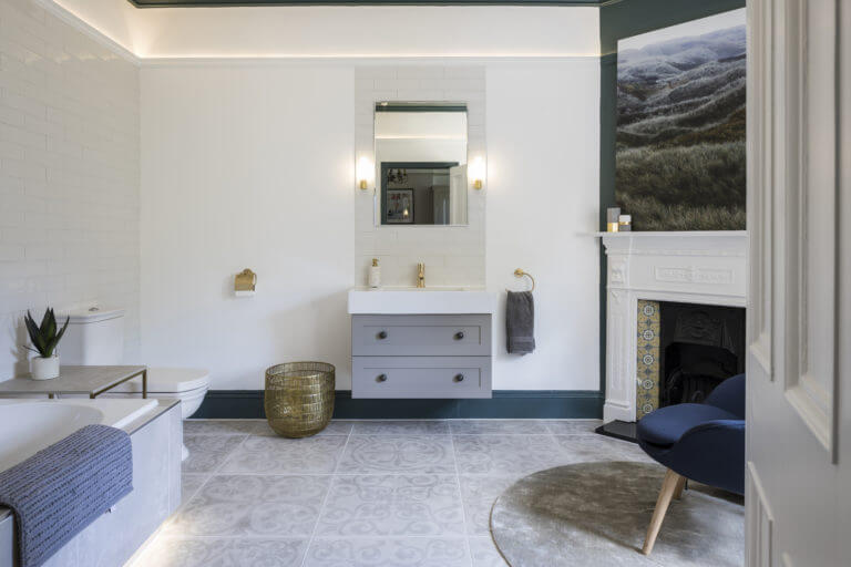 Luxury bathroom lighting in Thames Ditton designed and installed by bathroom Eleven