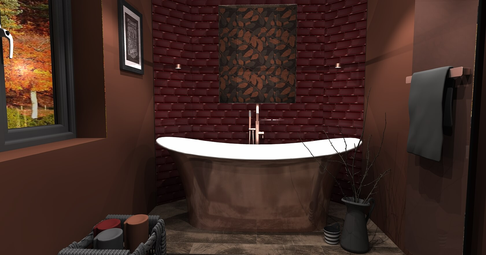 Bathroom Eleven - 3D CAD drawing Autumn trends