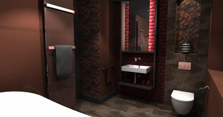 3D Cad design of Autumnal bathroom