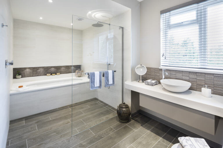 Family Bathroom with wetroom shower and powder room - Long Ditton