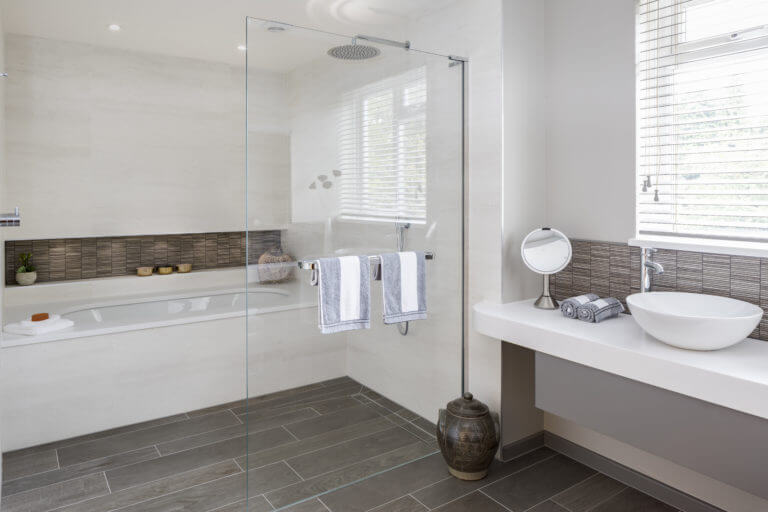 Bathroom with wetroom shower and powder room - Long Ditton