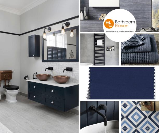 Bathroom Eleven - moodboard in blue