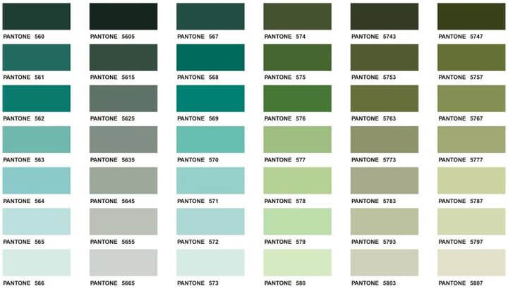 Pantone Colour Chart - Green