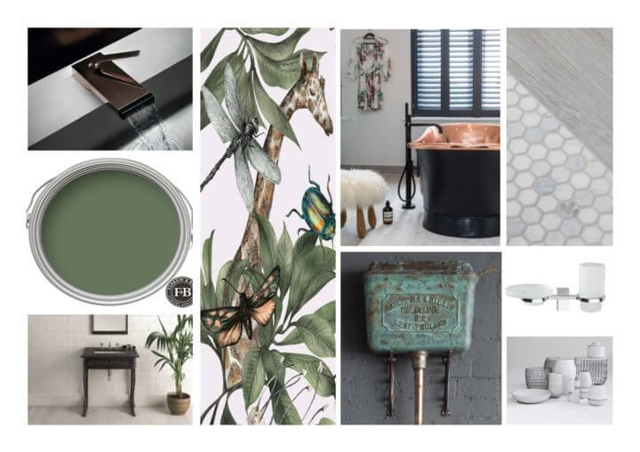 Bathroom moodboards going green project in Esher