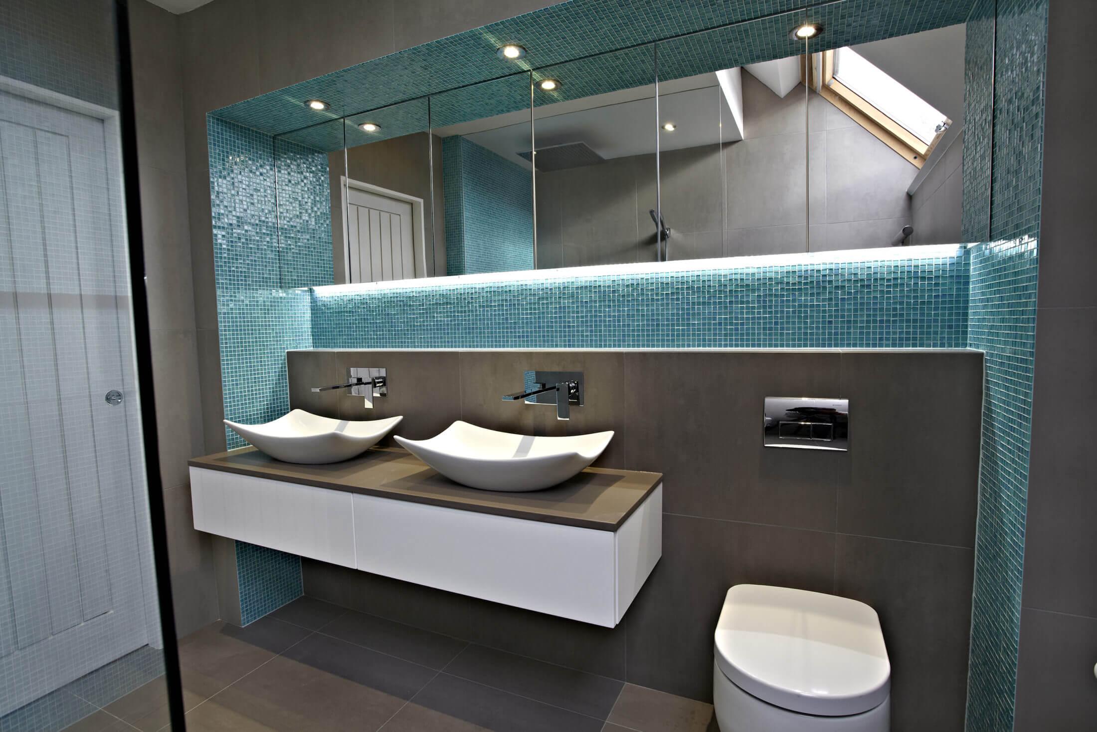Aqua and grey wetroom Oxshott