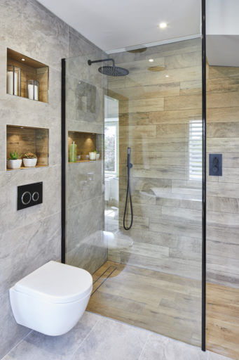 Wetroom with wall hung WC