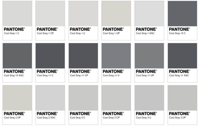 grey pantone colour chart