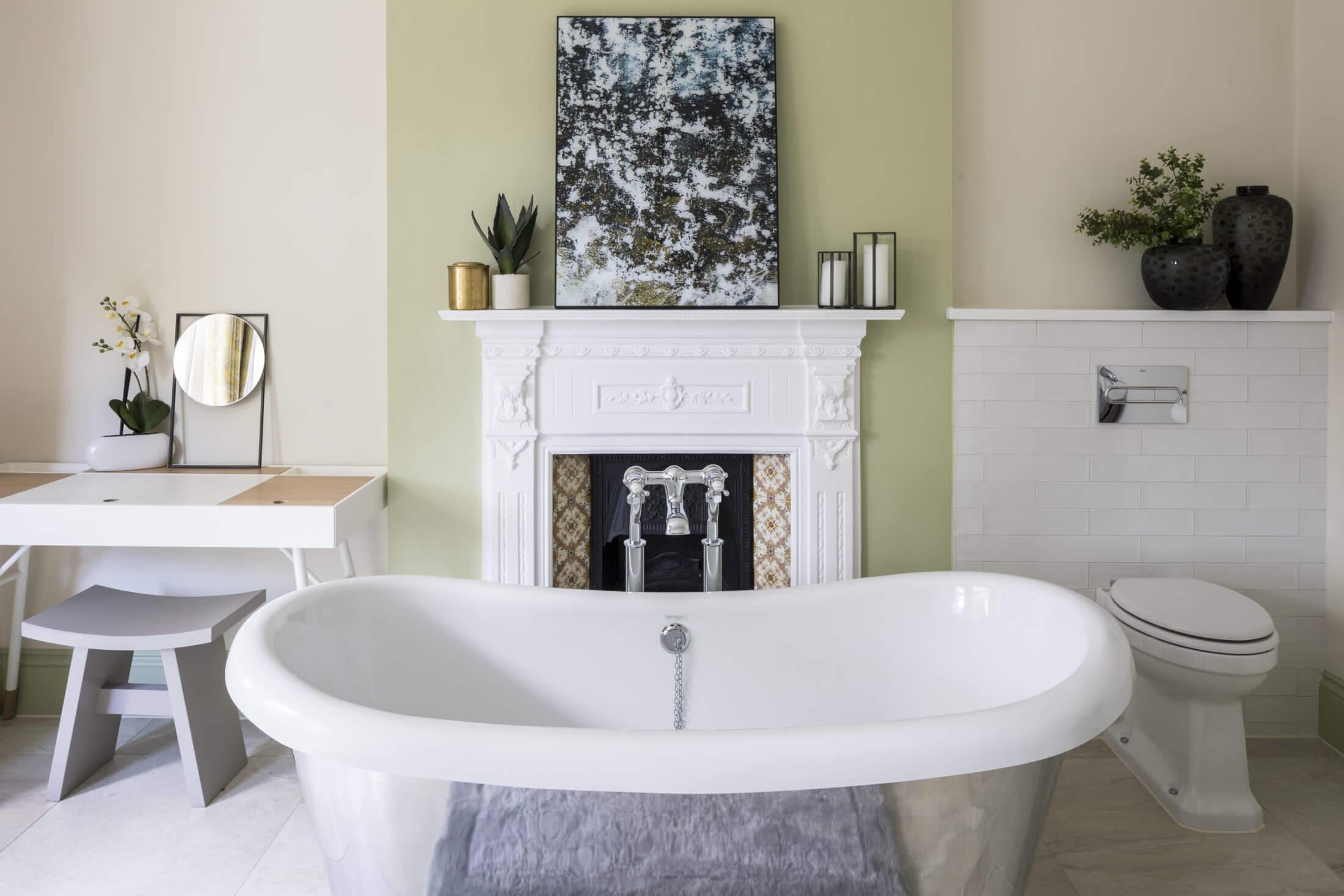Silver bath by fireplace